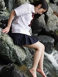 Beautiful and horny Japanese av idol Ruka Kanae dresses in schoolgirl uniform and then goes naked